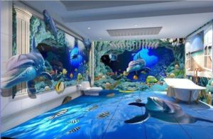 Hot Sale 3d Floor Graphics Glass Surface Tile 3d Bathroom Wall And